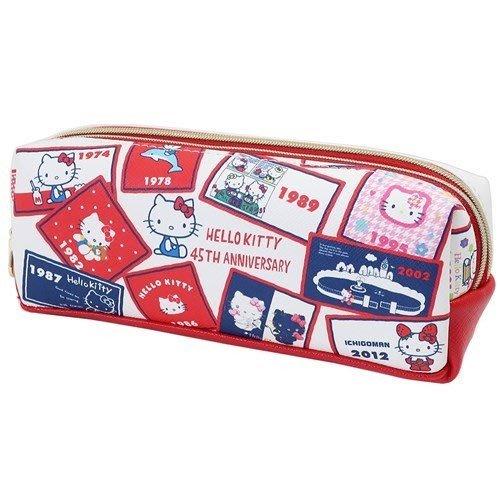 45週年《現貨》日本三麗鷗正版 凱蒂貓 筆袋 雙層鉛筆盒 化妝包 鉛筆盒 PU合成皮革