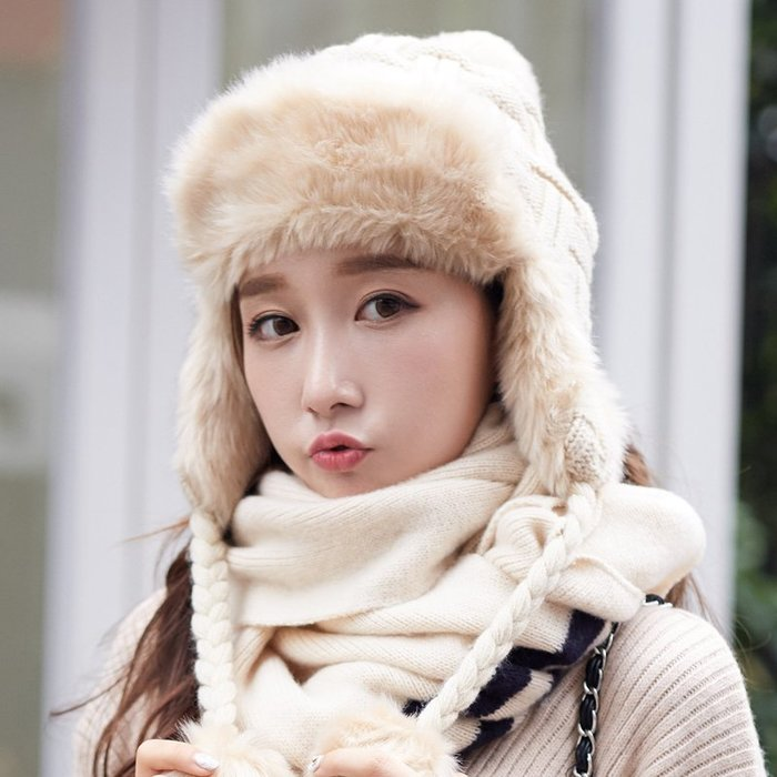 洛克小店雷鋒帽女冬天冬季帽子東北護耳仿狐貍毛保暖加厚騎車護耳毛線針織