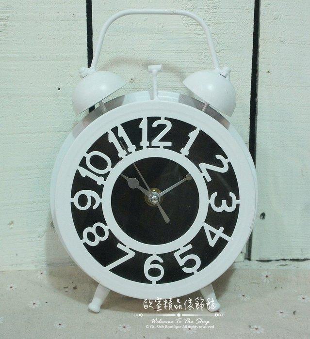 ~*歐室精品傢飾館*~Loft工業 美式鄉村 鐵製 簡約 數字 雙耳 造型 桌鐘 時鐘 白色 擺飾 裝飾~新款上市~