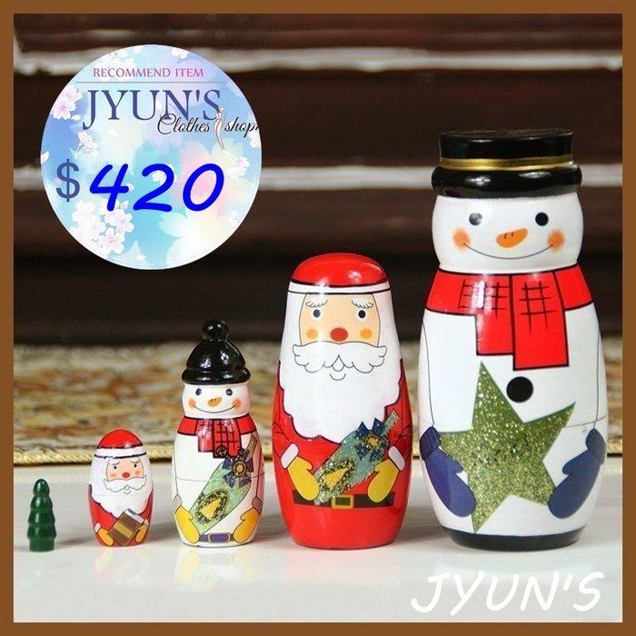 套件 實拍 設計文藝原創手工木製聖誕老人雪人木頭俄羅斯套娃娃擺件進口正品5層生日禮物禮品情人節1色-JYUN'S 預購