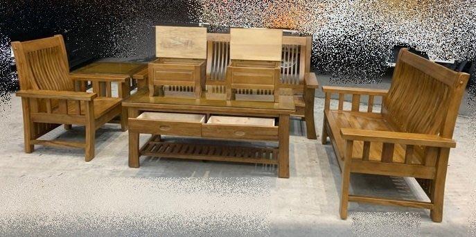 台中二手家具買賣 推薦 西屯樂居中古傢俱館 EA823BJD*全新樟木木頭椅 123含大小茶几木沙發*新莊樹林板橋中和
