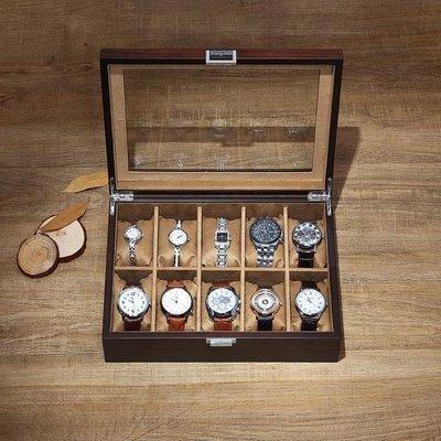 烏金木質手錶收藏盒簡約時尚玻璃天窗首飾手鍊腕錶手錶收納盒子帶鎖扣