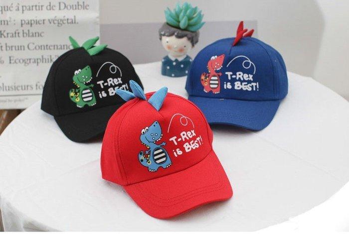 ☆二鹿帽飾☆ 春夏潮兒童鴨舌帽男童韓版卡通恐龍棒球帽女童帽寶寶帽 -4色(2~6歲)