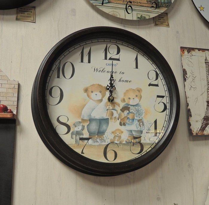 鄉村風時鐘 可愛小熊兄妹掛鐘 鐵藝造型時鐘 可愛小熊壁鐘 靜音鐘 靜音機芯 直徑36*厚8公分