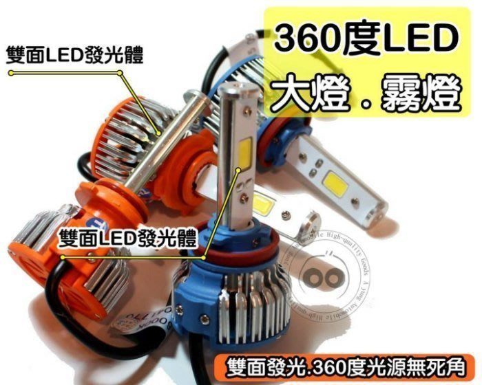 阿勇的店『中區』台灣晶片 超白光 6000K LED大燈 H1 H4 H7 H11 880 9005 9006 9012