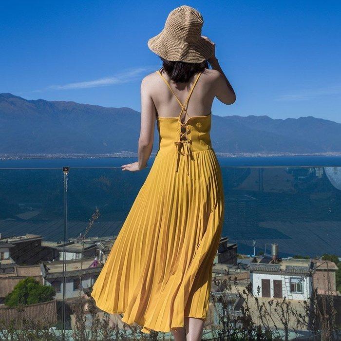 ♥韓  實拍 ♥  沙滩裙 长裙E6053 露背吊带海边度假海滩裙 连衣