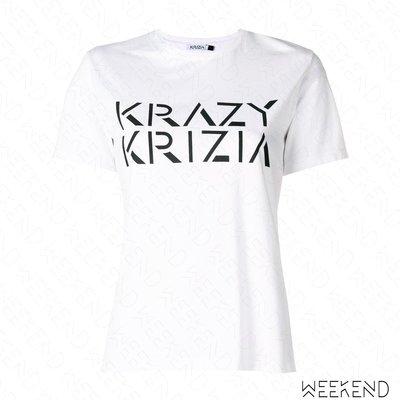 【WEEKEND】 KRIZIA Logo 文字 短袖 T恤 上衣 白色 18秋冬