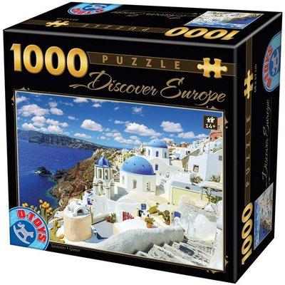 歐洲拼圖 DTO.風景 希臘 愛情海 聖托里尼1000片拼圖,DE06