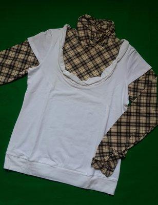 Kinloch Anderson金安德森全新白色經典卡格領口胸口袖口抓皺設計假兩件棉衫