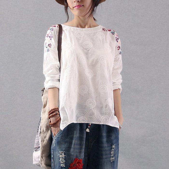 創意 民族風時尚白色短袖t恤女民族風純棉長袖上衣春新款韓版寬松大碼打底衫