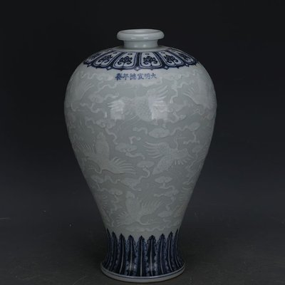 ㊣姥姥的寶藏㊣ 大明宣德青花留白堆雕仙鶴紋梅瓶  出土官窯古瓷器手工瓷古玩收藏