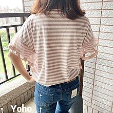 YOHO 寬鬆短袖上衣 (NI1086) 韓國原單荷葉袖蕾絲網紗憑藉條紋棉T 有2色