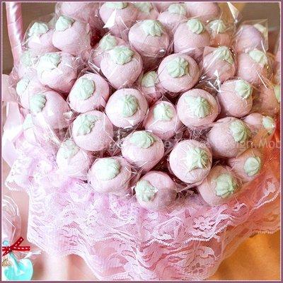 愛心鏟子義大利「草莓」棉花糖X100份+大提籃X1個(限宅配)--生日分享/活動獎品/婚禮小物/送客喜糖/幸福朵朵