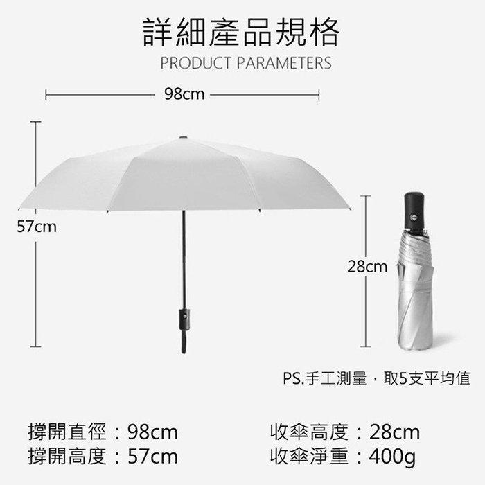 防曬降溫鈦銀摺疊自動傘,防曬超有感 外層採用鈦銀膠傘布,全面阻隔艷陽,將紫外線反射,減少吸光,降低傘內溫度