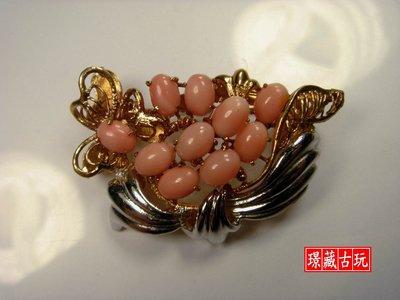 ﹣﹦≡|璟藏古玩|天然MOMO粉紅珊瑚蛋面18K金鑲嵌別針(保真海珊瑚,決非沙丁或海竹喔)∥(直購價,只給第一標)∥≡