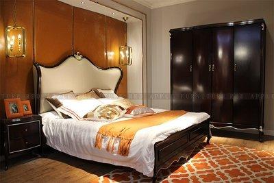 [紅蘋果傢俱] 6606 輕奢系列 新古典   雙人床 六尺床 床台 全實木床架 床頭櫃 工廠直營