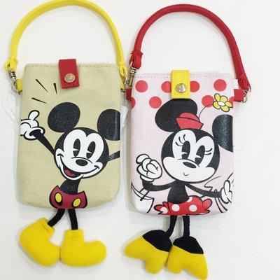 迪士尼 米奇 米妮 帆布 手機袋 提袋 造型 腳丫 復古 點點 配件 正版日本進口 * JustGirl *