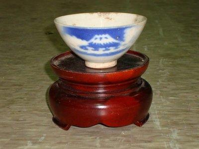 """典藏一隻台灣光復初期日本古早彩繪""""富士山""""的老碗"""