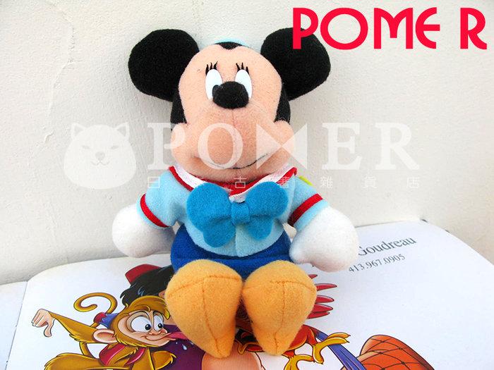 ☆POMER☆日本東京迪士尼樂園 早期稀有 絕版正品 米妮 蝴蝶結 藍色學生制服 娃娃玩偶 安全別針 復古造型 值得收藏