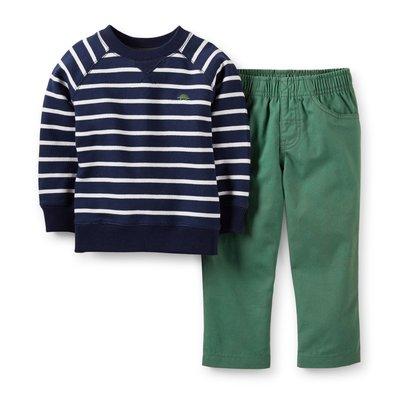 *小豆仔的屋Dou Dou House*美國進口童裝Carters二件式條紋上衣帆布褲子套裝(現貨)