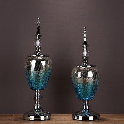 〖洋碼頭〗歐式新古典玻璃金屬擺件 客廳電視櫃玄關樣板房裝飾歐式家居飾品 ysh287