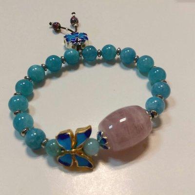 04255 草莓晶 秘魯天河石手珠 景泰藍 設計款手珠 蝴蝶 天河石手珠 草莓晶棍珠 招人緣