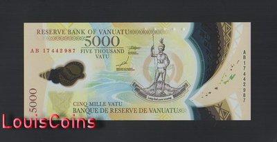 【Louis Coins】B1417-VANUATU-2017萬那杜(瓦努阿圖)塑膠紙幣,5.000 Vatu