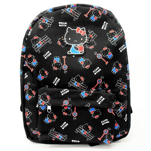 【2U小舖】現貨 Hello Kitty 凱蒂貓 後背包 學生背包 日本正版 大容量 公車站 黑色 點點