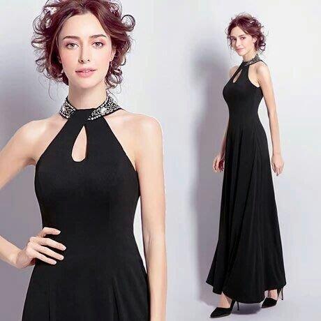 天使佳人婚紗禮服-------黑色掛脖晚禮服晚宴服  實拍