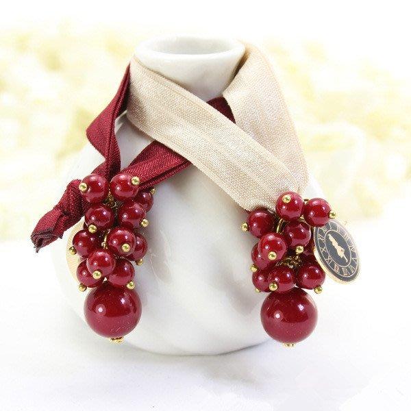 紅櫻桃珍珠髮束/髮飾