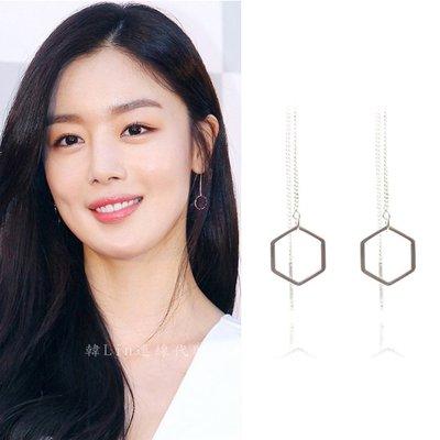 【韓Lin連線代購】韓國 GET ME BLIN- 明星同款抗敏925銀六邊形長鏈耳環 TEARLESSDEW