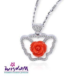 威世登 珊瑚銀墜-天然海洋紅珊瑚 紅玫瑰墜飾(不含鍊)-情人禮、生日禮、流行款、熱銷款-JCD00102-DXEX