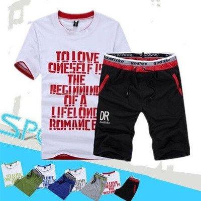 ※現貨 字母T恤+棉短褲 休閒套裝/短...