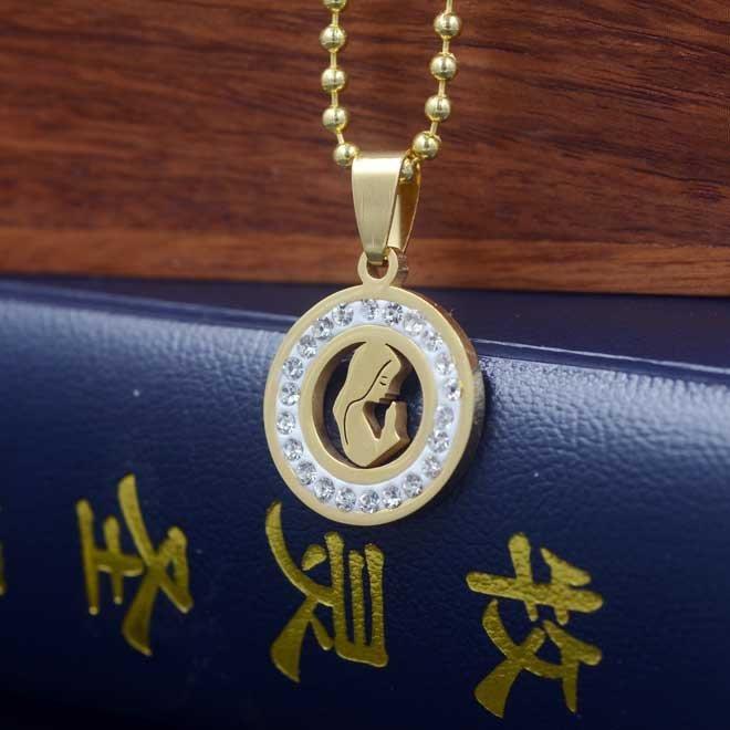 【弘慧堂】  金色鑲鉆鏤空祈禱聖母聖牌配鏈 天主教聖物 聖母瑪利亞耶穌基督