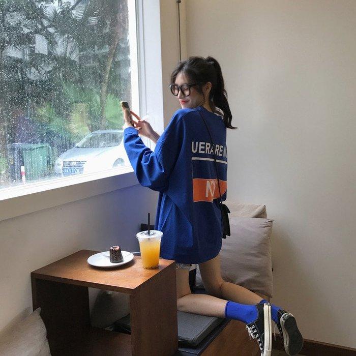 寬松撞色字母印花長袖T恤韓版學生bf減齡顯瘦上衣女秋季2019新款  衣品居 YPJ
