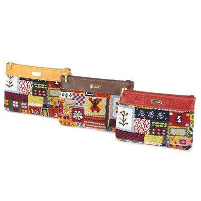 ◎Life Sense◎【LECOTT】日本製雪尼爾編織皮革化妝包 平口袋 萬用袋 護照存摺袋