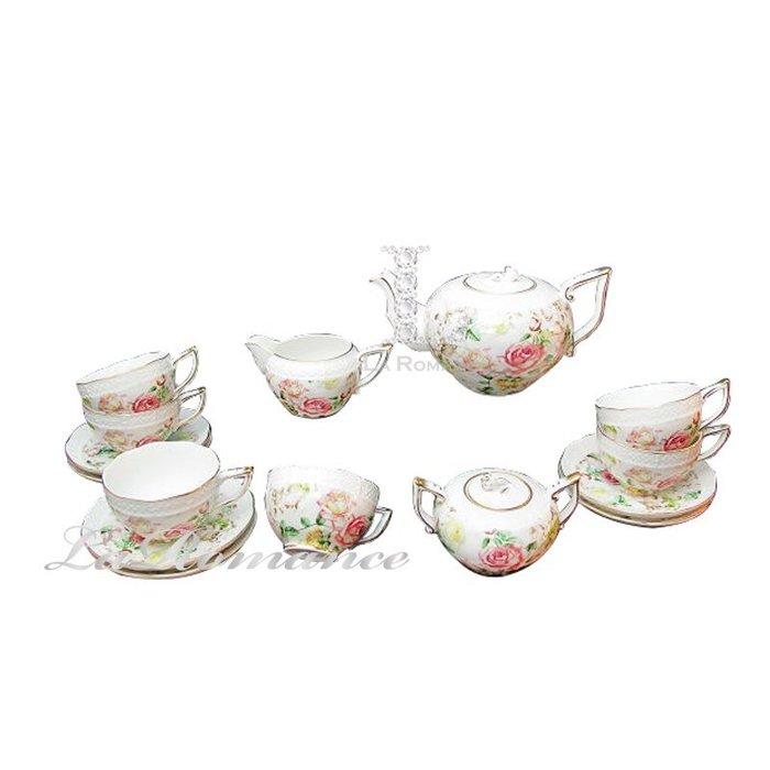 【芮洛蔓 La Romance】帝凡內系列清晨玫瑰十五件茶具組 / 下午茶 / 杯盤組