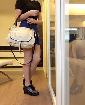 *Beauty*CHLOE Marcie 米色斜背包 手提包 CR 附購證  原價約台幣56000元