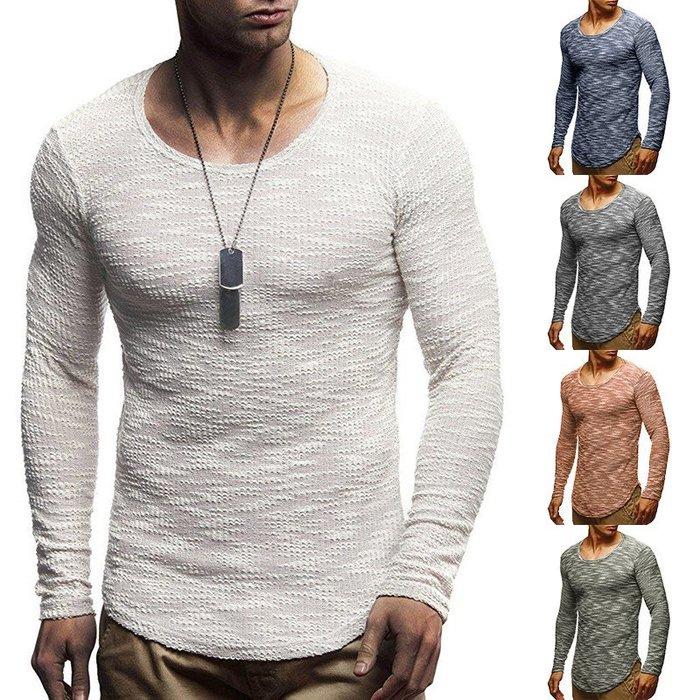 『潮范』  N4 歐碼外貿新款男士圖案針織衫 圓領長袖T恤 打底衫 圖案T恤