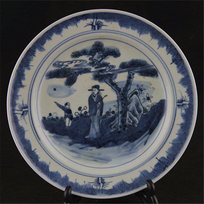 清光緒青花人物山水紋瓷盤 景德鎮做舊仿清代古瓷器 古玩收藏擺件仿品