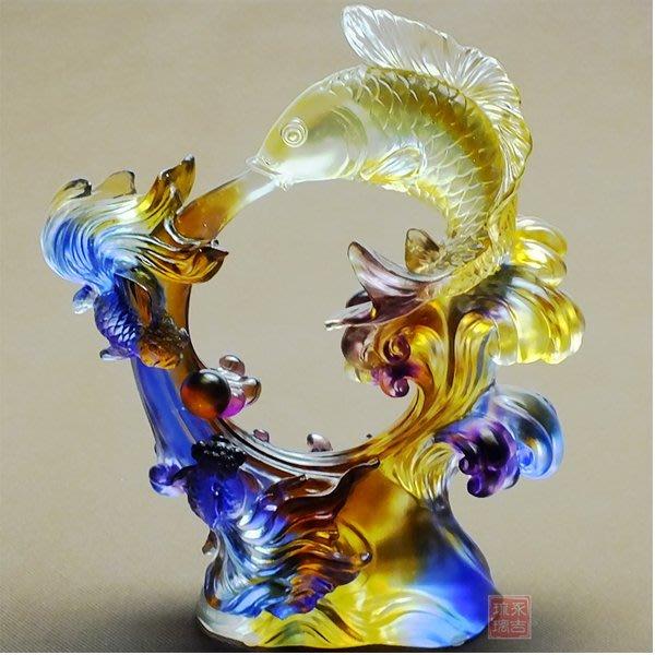 5Cgo【鴿樓】會員有優惠 38355684738 琉璃工藝品開業禮品招財琉璃大擺件魚 祥和豐登家居喬遷擺件 附禮盒