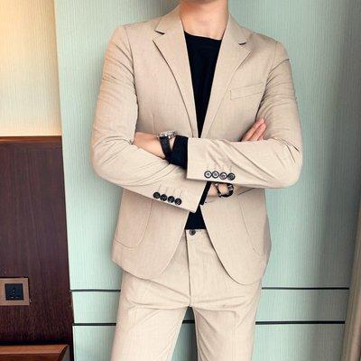 【時尚先生男裝】西裝男套裝韓版修身兩件套正裝新郎結婚伴郎團禮服休閑西服外套男韓版西裝 修身西裝 整套西裝 西裝褲 西裝外套正式西裝A0035
