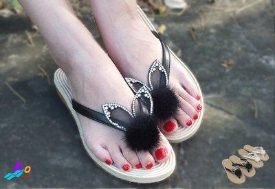Lo流行女鞋~*夏日公主。兔子造型平底夾腳拖鞋
