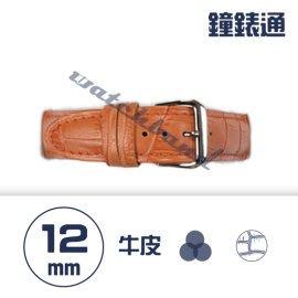 【鐘錶通】C1.05KW《繽紛系列》鱷魚壓紋-12mm 橙橘┝手錶錶帶/高質感/牛皮錶帶┥