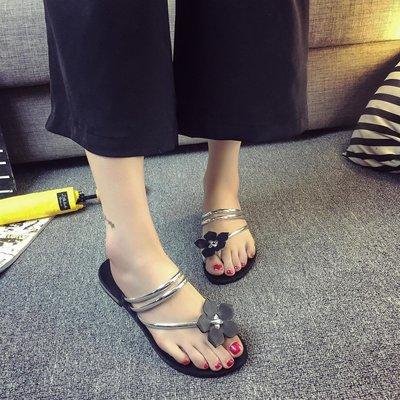 【Lady  luck鞋城】 韓版2018夏季花朵涼拖鞋平底平跟拖鞋學生人字拖套趾沙灘鞋女鞋潮