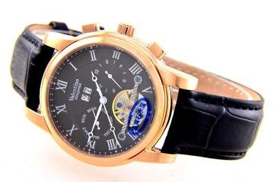 (六四三精品)Valentino coupeau(真品)錶徑4.0公分,超多功能星期.日期.月份似陀飛功能自動上鍊機械