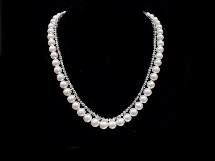 【英皇精品集團 】日本阿古屋天然頂級珍珠鑽石項鍊