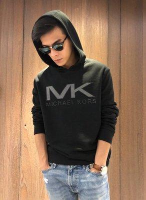美國百分百【全新真品】Michael Kors 帽T 長袖 T恤 MK T-shirt 黑色 logo XL號 I843