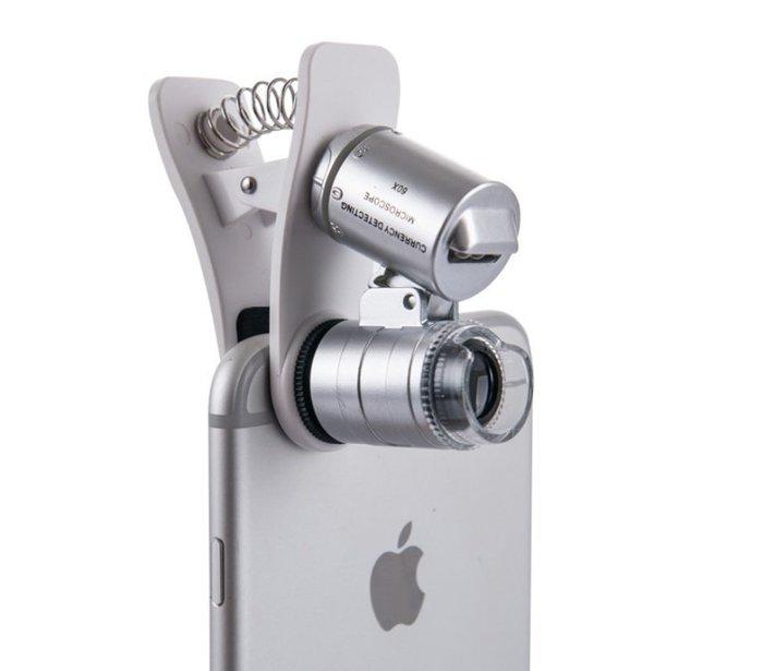 60倍 手機夾 顯微鏡 攜帶式 放大鏡 珠寶 驗鈔 Apple 安卓 智慧手機  送隨身收