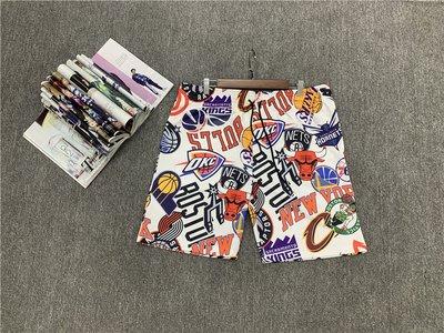 NBA聯名籃球褲  籃球短褲 口袋版 白色大logo款式  正版